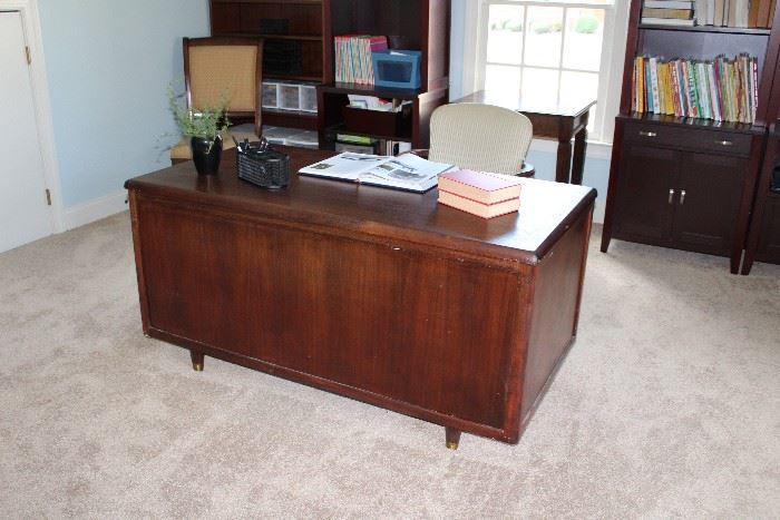 Home office dark brown wood desk